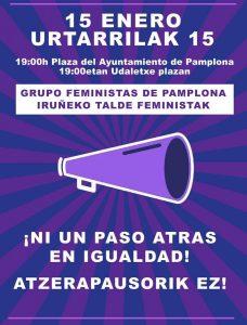 Concentración grupo feministas de Pamplona #NiUnPasoAtras @ Plaza del Castillo