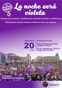 La noche será violeta. Emakumeen aurkako bortizkeriaren kontrako estatuko mobilizazioa @ Udaletxe Plazan.