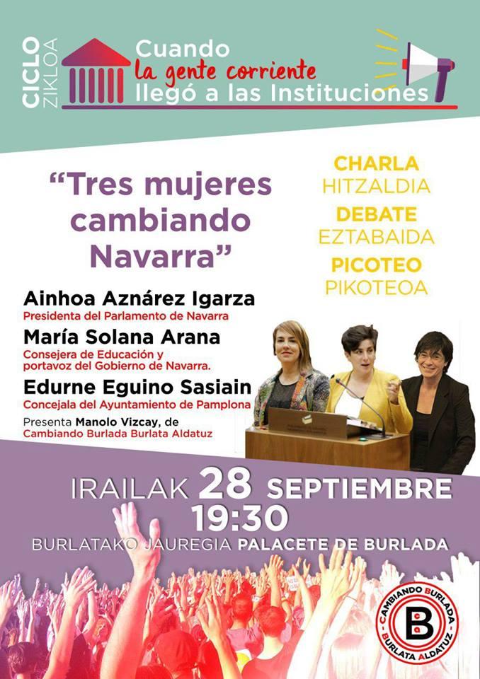 Tres mujeres cambiando Navarra. Cambiando Burlada. Septiembre 2018.
