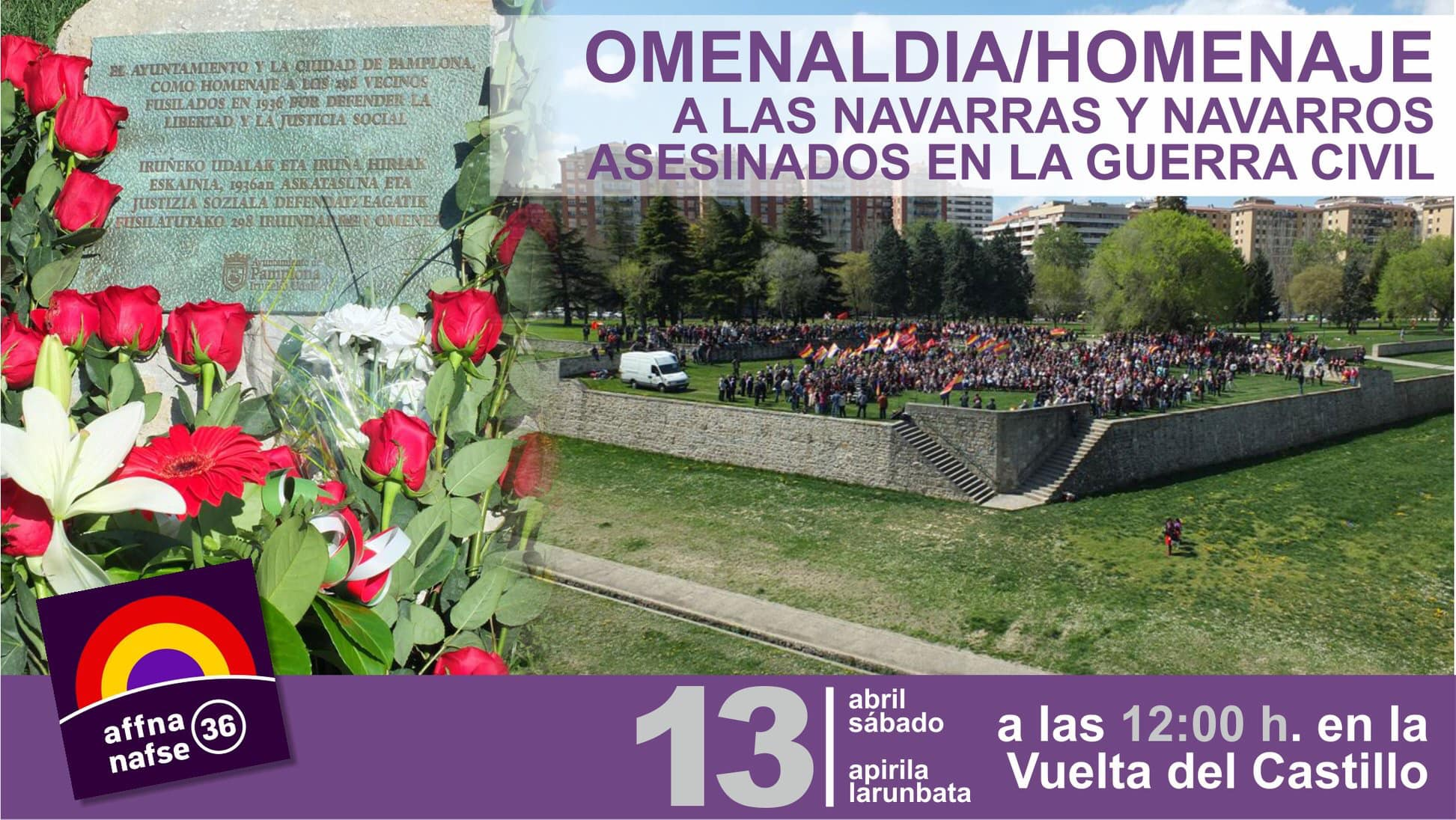 Homenaje a los Fusilados en Navarra. Abril 2019.