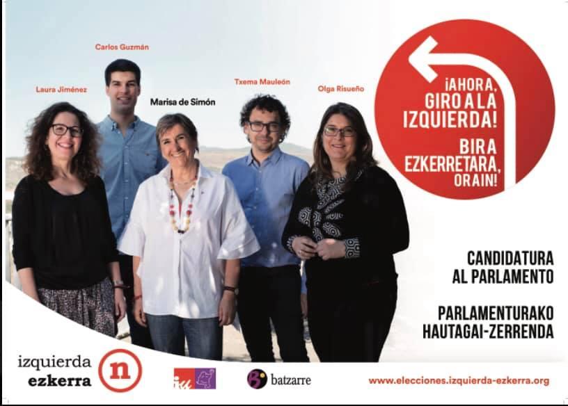 Candidatura Parlamento de Navarra de IE. Elecciones Mayo 2019.