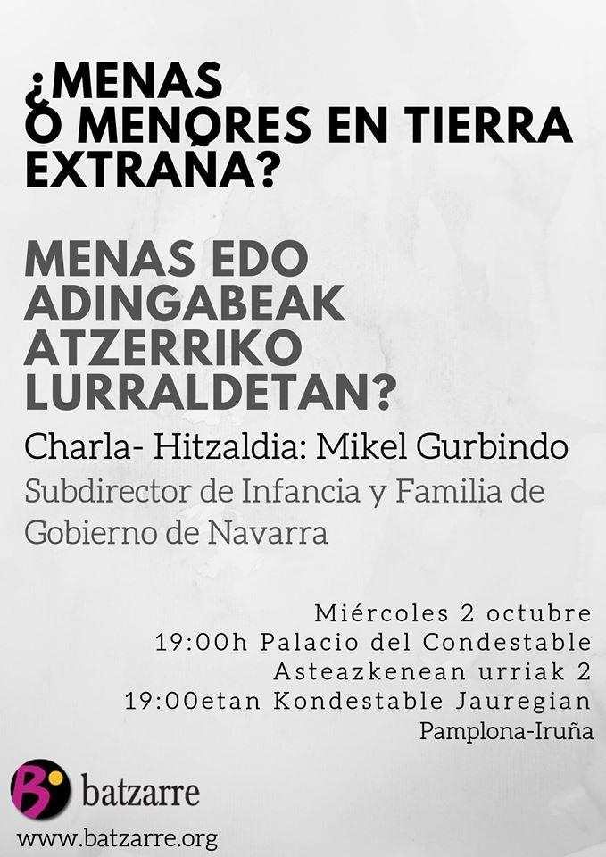 Menores No Acompañados en Navarra. Charlo a cargo de Mikel Gurbindo.