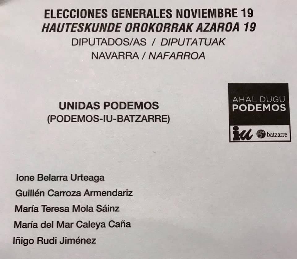 Papeleta Elecciones Generales. 10 Noviembre 2019.