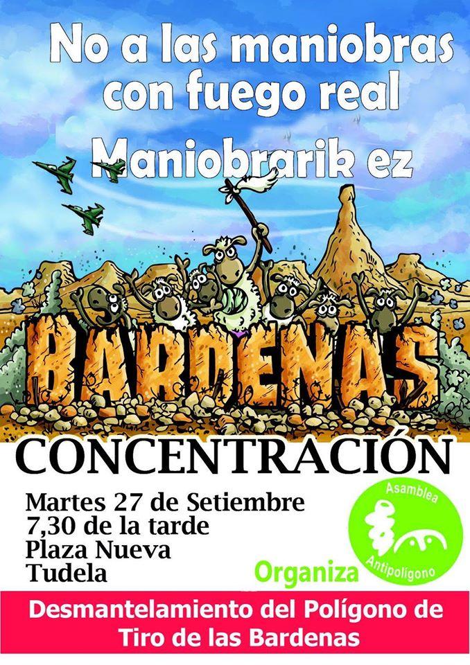 No a las maniobras en Bardenas. Concentración Septiembre 2016.