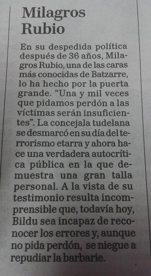 Despedida de Milagros Rubio.