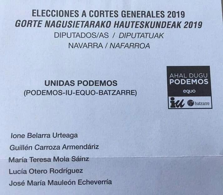 Papeleta Congreso Diputados y Diputadas Abril 2019.