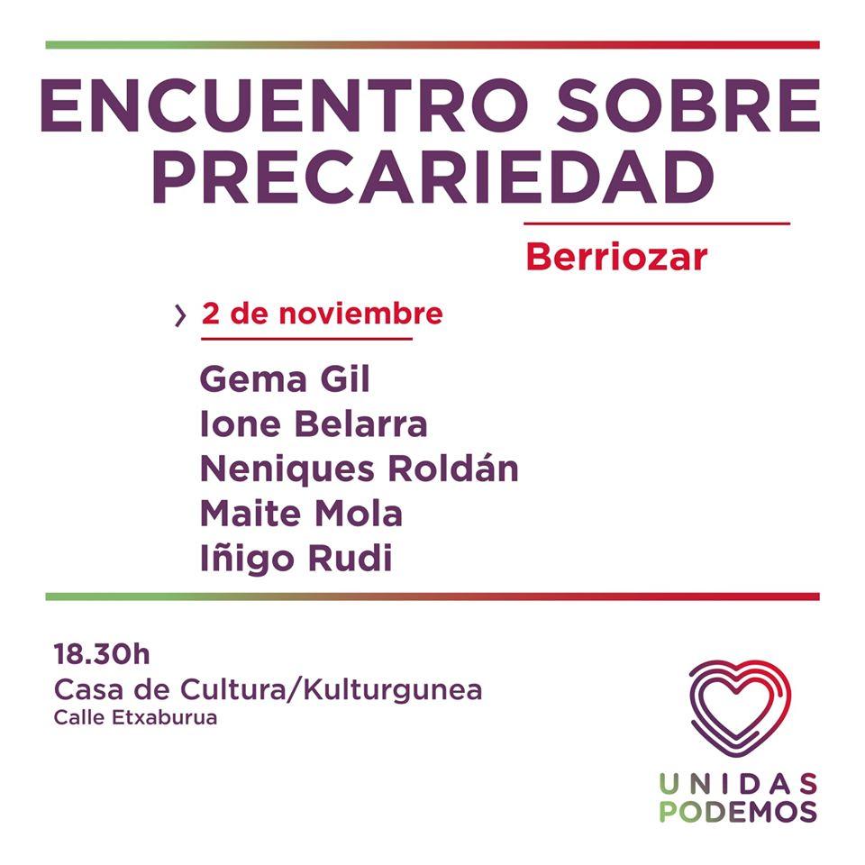Encuentro sobre precariedad, Unidas Podemos. Con nuestro compañero Iñigo Rudi.