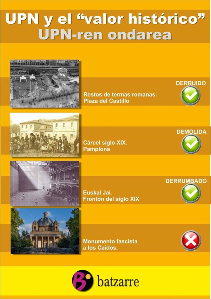 Campaña sobre la política de UPN en Iruña.